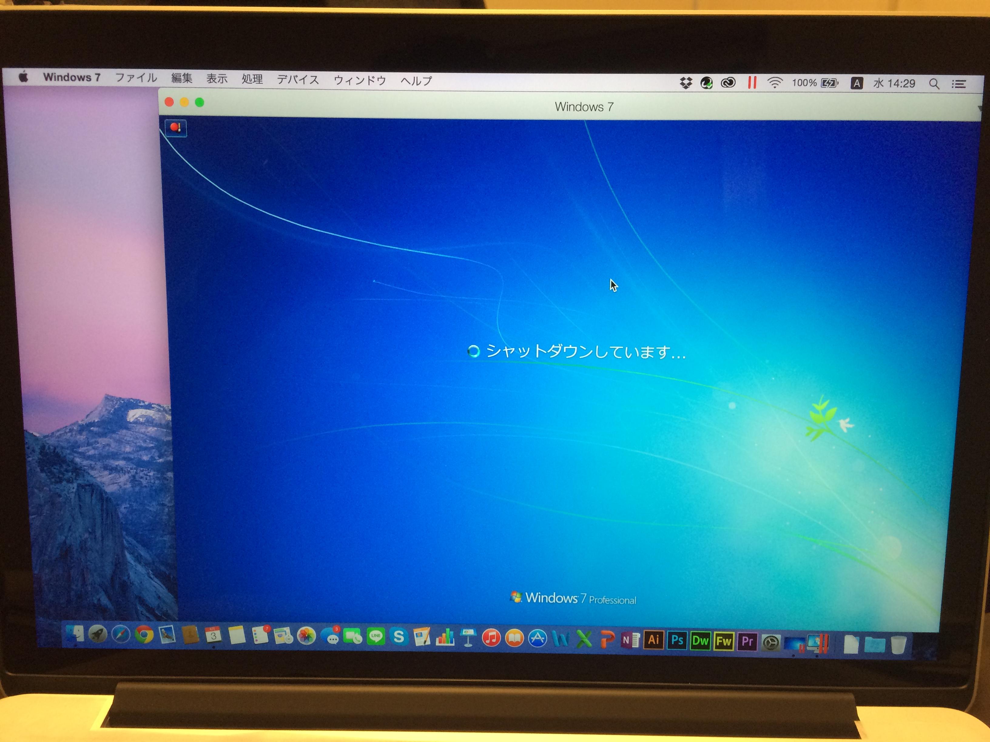 MacBook Pro RetinaディスプレイにParallels DesktopにWindows7を入れた