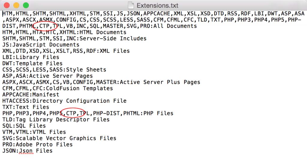 1行目の「All Documents」と16行目の「PHP Files」の適当な箇所に『CTP』を追加する。