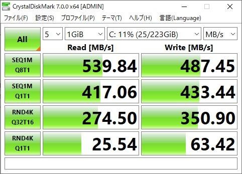 Kingston SSD 240GB CrystalDiskMarkの結果